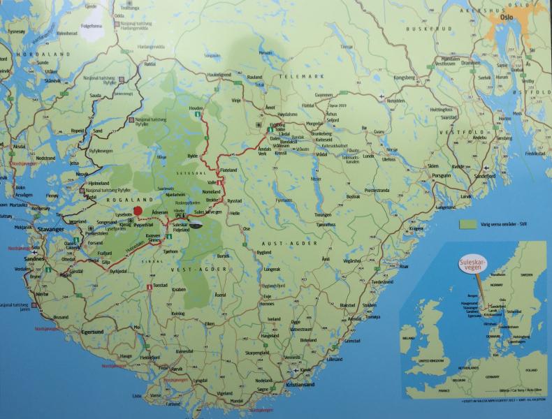 Mapa regionu Vest Agder