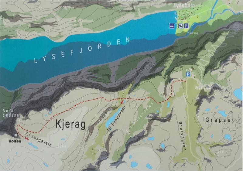 Mapa vystupu na Kjergbolten