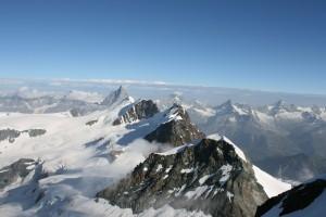 Walliské Alpy - pohľad z Castor